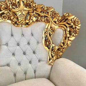 Baroque Throne Chair *2 Available* Rococo Tufted Chair French Tufted Chair Baroque Chair Furniture Rococo Chair Antique Off White Velvet