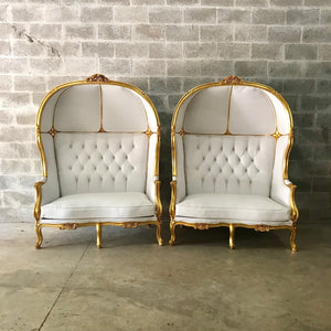 French Balloon Chair Canopy Chair *a Pair Double Seat* Reproduction White Leather Chair Tufted Gold Leaf French Furniture Interior Design