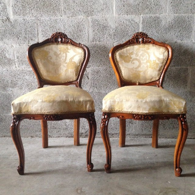 Antique French Louis XVI Living Room Chairs Wingback Fauteuil Sofa Settee Couch Corbe Dark Brown Refinished ReUpholster Yellow Whie Beige