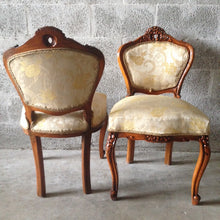 Load image into Gallery viewer, Antique French Louis XVI Living Room Chairs Wingback Fauteuil Sofa Settee Couch Corbe Dark Brown Refinished ReUpholster Yellow Whie Beige
