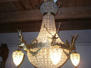 "Deer Stag Chandelier LARGE French Stag Deer Head *Rush Shipping* Basket Brass Empire Bowl 30""H x 25""W Interior Design Refinish"