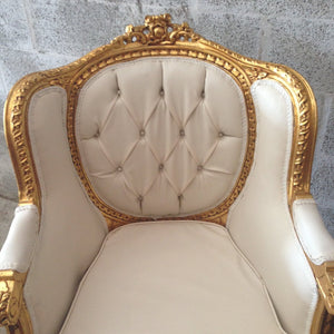 French White Tufted Chair *1 Left* Antique Furniture French Louis XVI Chair Corbeille Rococo Furniture Baroque Chair Tufted White Leather