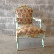 Load image into Gallery viewer, French Green Minty Chair French Antique Furniture Louis XVI Fauteuil Wingback Rococo Baroque Green Minty Frame Gold Leaf Accent Gild Shabby