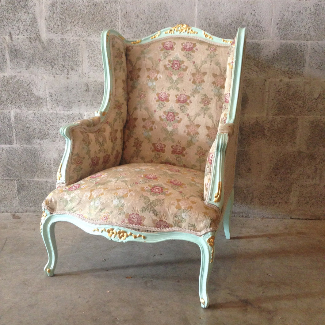 Antique French Louis XVI Chairs *1 Available* Fauteuils Wingback Rococo Baroque Green Minty Frame Gold Leaf Accent Gild Shabby