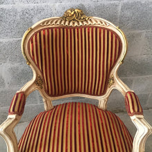 Load image into Gallery viewer, Creme French Chair Antique Louis XVI Fauteuil Amrchair Bench Table Original Creme Beige White Frame Gold Leaf Accent Fabric Baroque Rococo