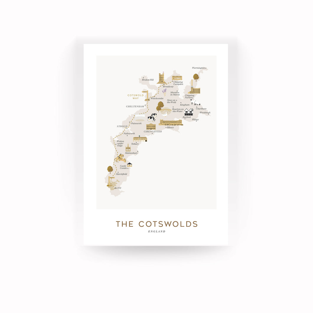COTSWOLDS MAP PRINT (UNFRAMED)