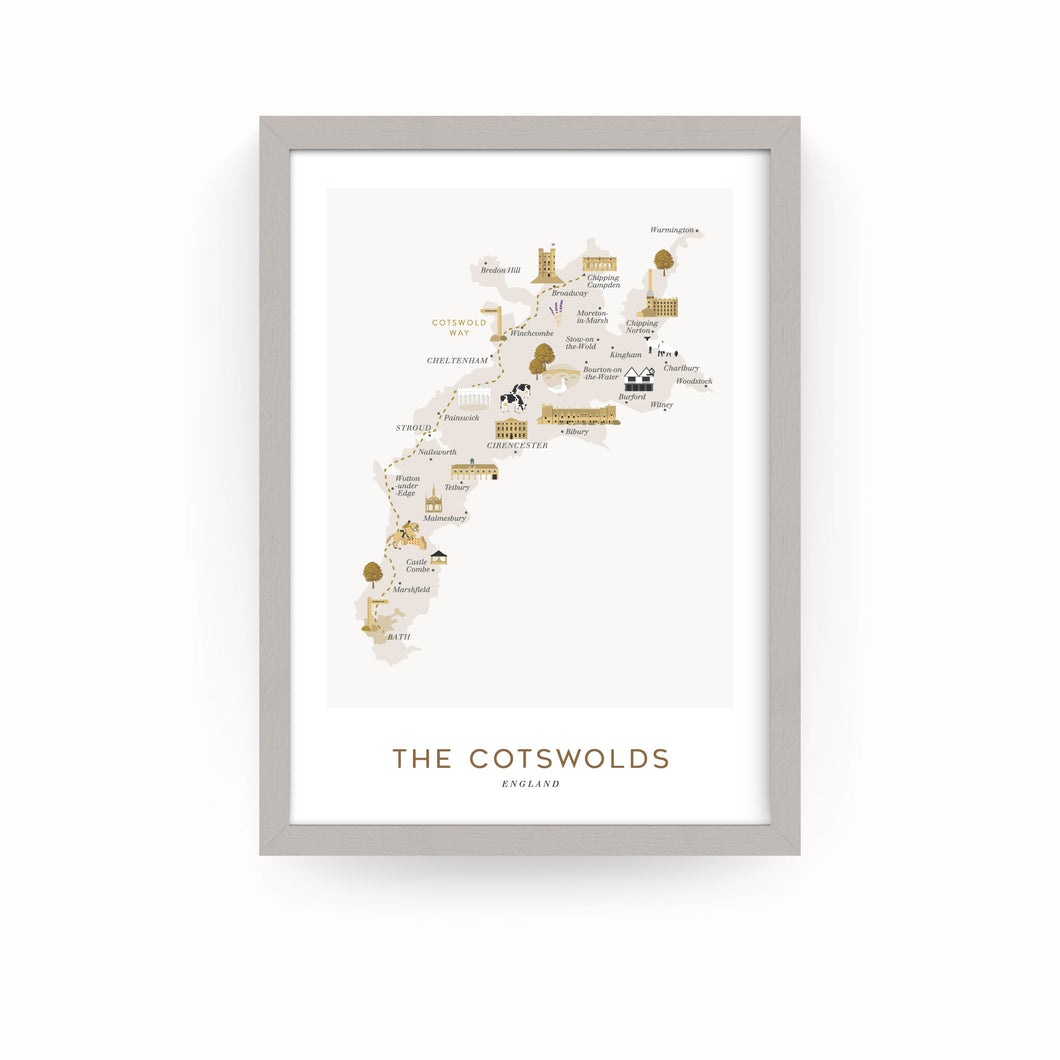 COTSWOLDS MAP PRINT (FRAMED)