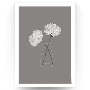 COUNTRY FLOWERS ART PRINT - GREY (UNFRAMED)