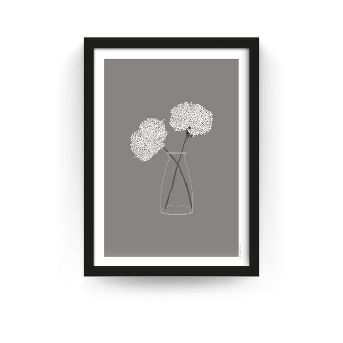 COUNTRY FLOWER PRINT - GREY (FRAMED) - Bluetiful