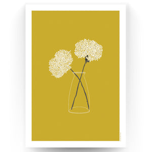COUNTRY FLOWERS ART PRINT - MUSTARD (UNFRAMED)