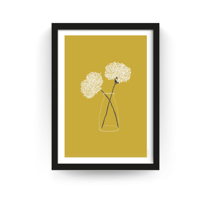 COUNTRY FLOWERS PRINT - MUSTARD (FRAMED) - Bluetiful