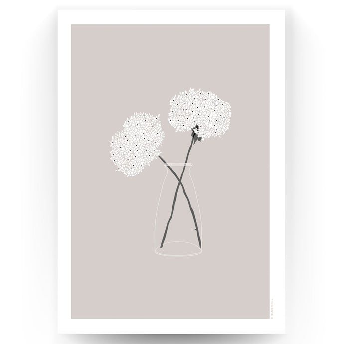 COUNTRY FLOWERS ART PRINT - TAUPE (UNFRAMED)