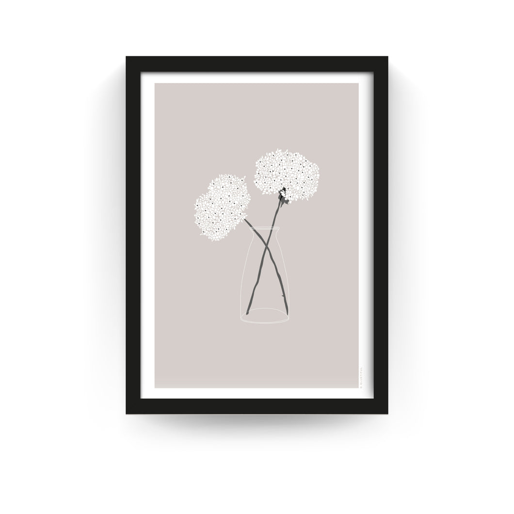 COUNTRY FLOWERS PRINT - TAUPE (FRAMED) - Bluetiful