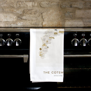 COTSWOLDS MAP TEA TOWEL