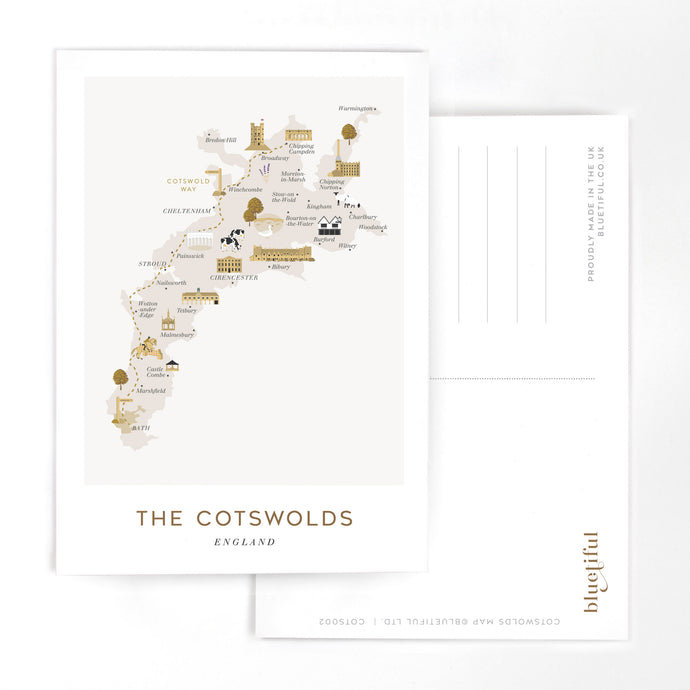 COTSWOLDS MAP POSTCARD