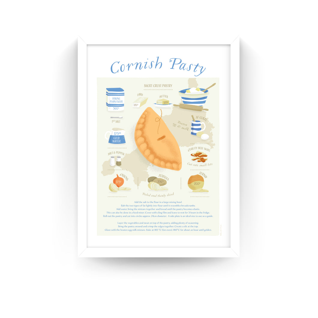CORNISH PASTY RECIPE PRINT (FRAMED)