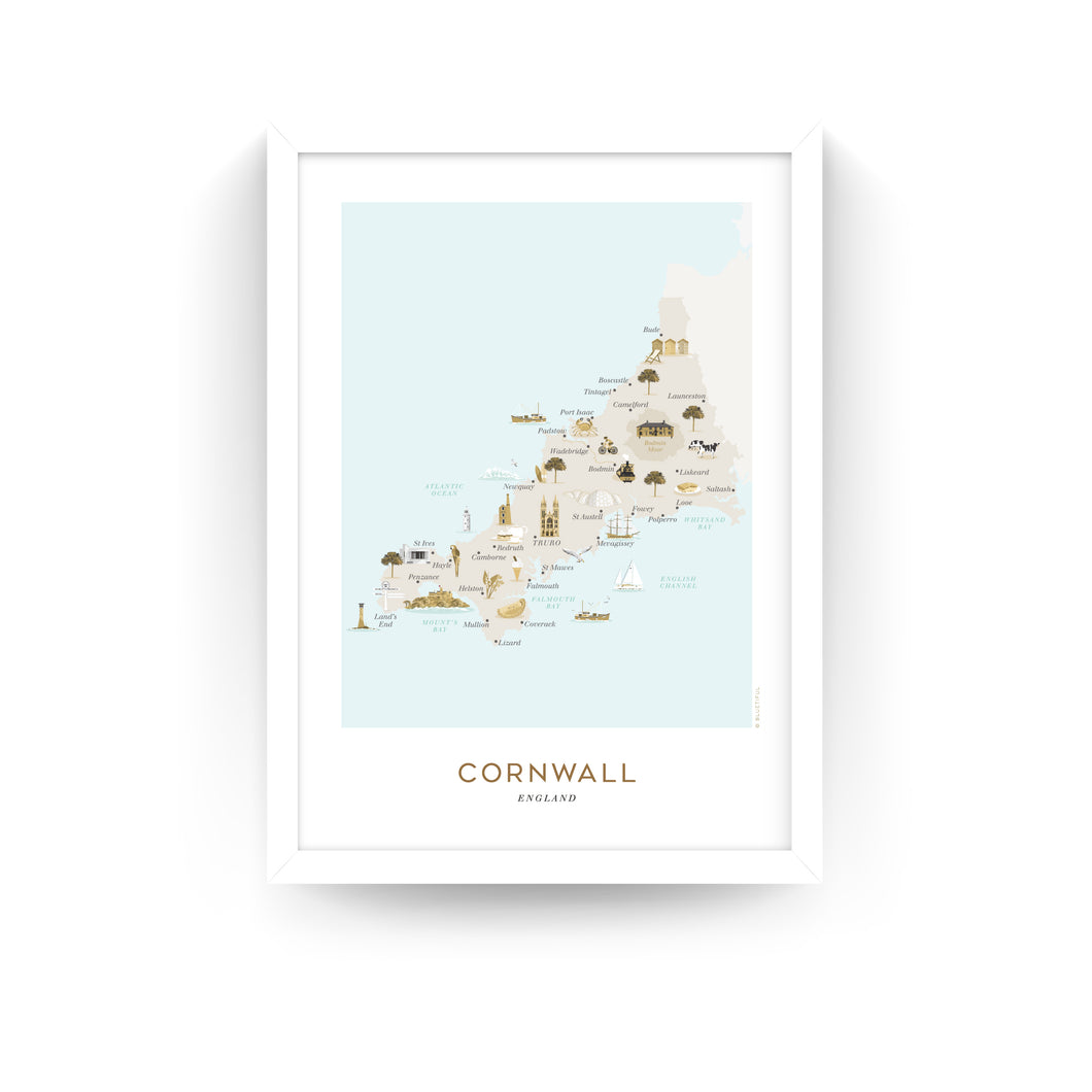 CORNWALL MAP PRINT (FRAMED)