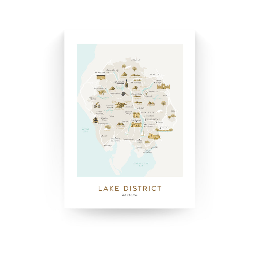 LAKE DISTRICT MAP PRINT (UNFRAMED)