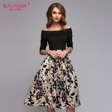 Load image into Gallery viewer, S.FLAVOR Femme Floral Printed Patchwork Dress Women Off Shoulder Sexy Party vestidos Female Slash Neck Casual Autumn Dresses