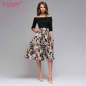 S.FLAVOR Femme Floral Printed Patchwork Dress Women Off Shoulder Sexy Party vestidos Female Slash Neck Casual Autumn Dresses