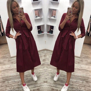 Women Vintage Front Button Sashes Party Dress Three Quarter Sleeve Turn Down Collar Solid Dress 2019 Autumn New Fashion Dress