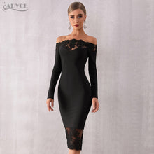Load image into Gallery viewer, Adyce 2019 New Women Bandage Dress Vestidos Black Slash Neck Celebrity Party Dress Elegant Off Shoulder Lace Bodycon Club Dress