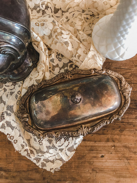 Tarnished Metal Butter Dish