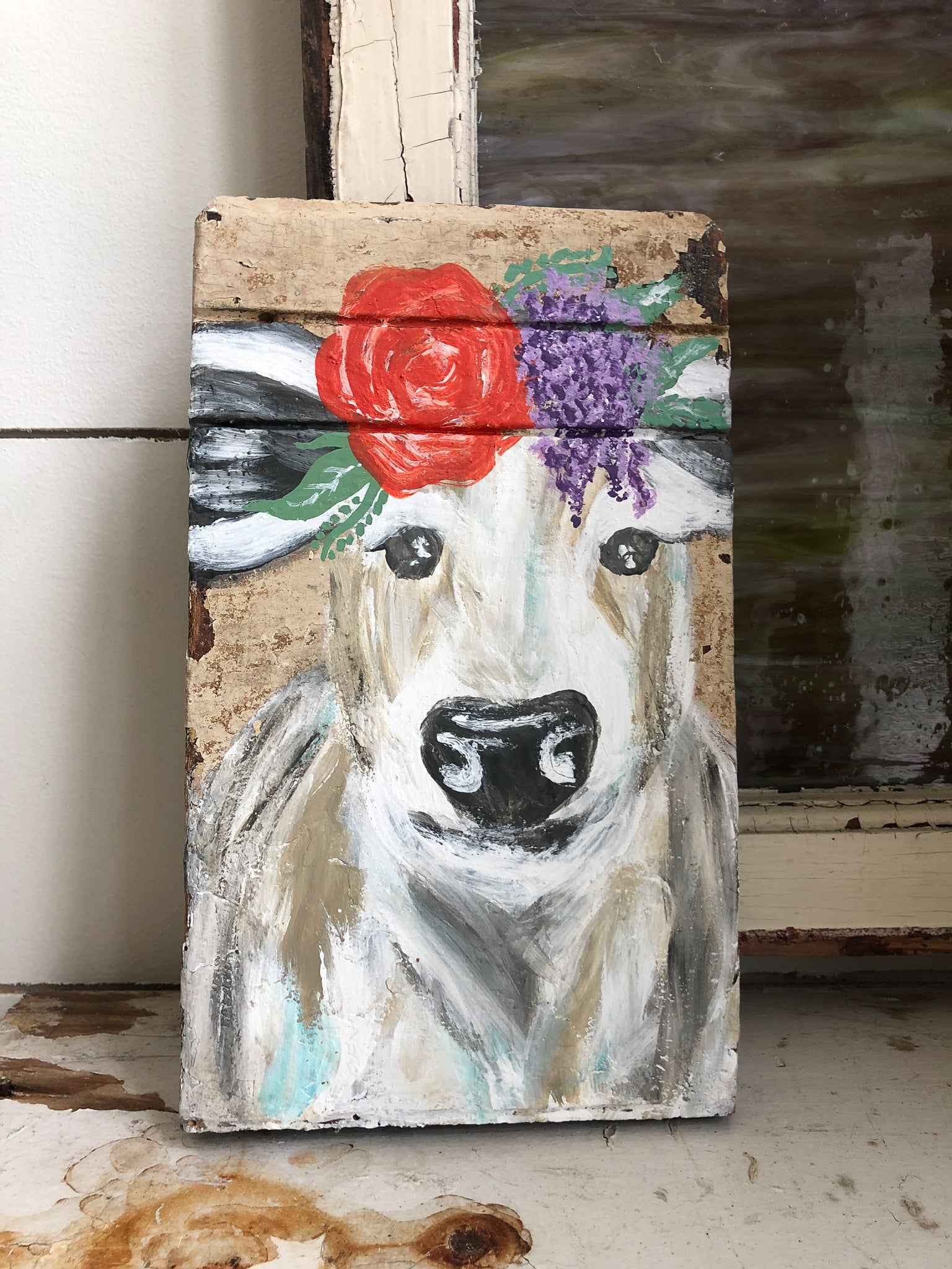 Farm Animal Painting - Floral Cow