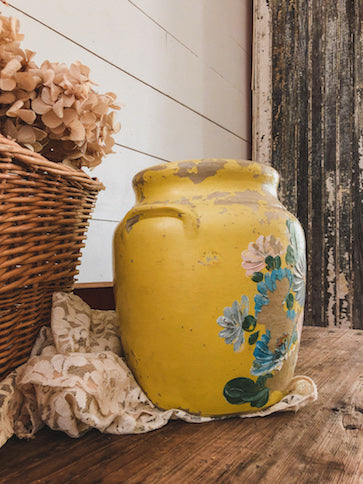 Vintage Chippy Yellow Floral Jug