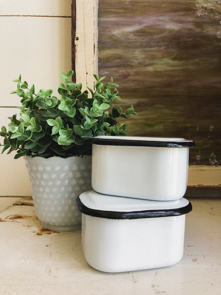 Vintage Enamelware Containers Set of 2