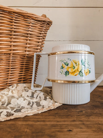 Vintage Yellow Rose Watering Can