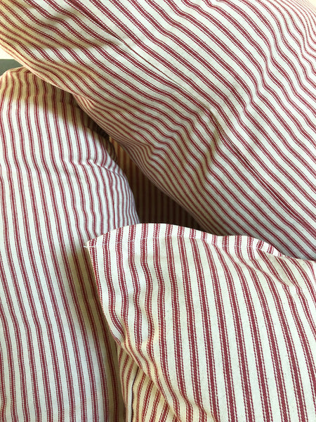 Red Small Square Ticking Stripe Pillow