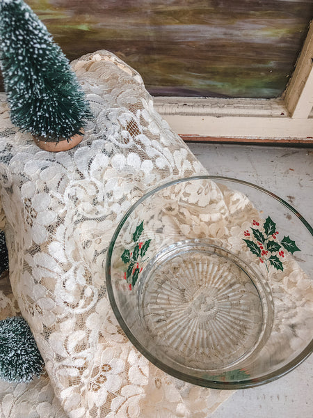 Vintage Glass Holiday Bowl
