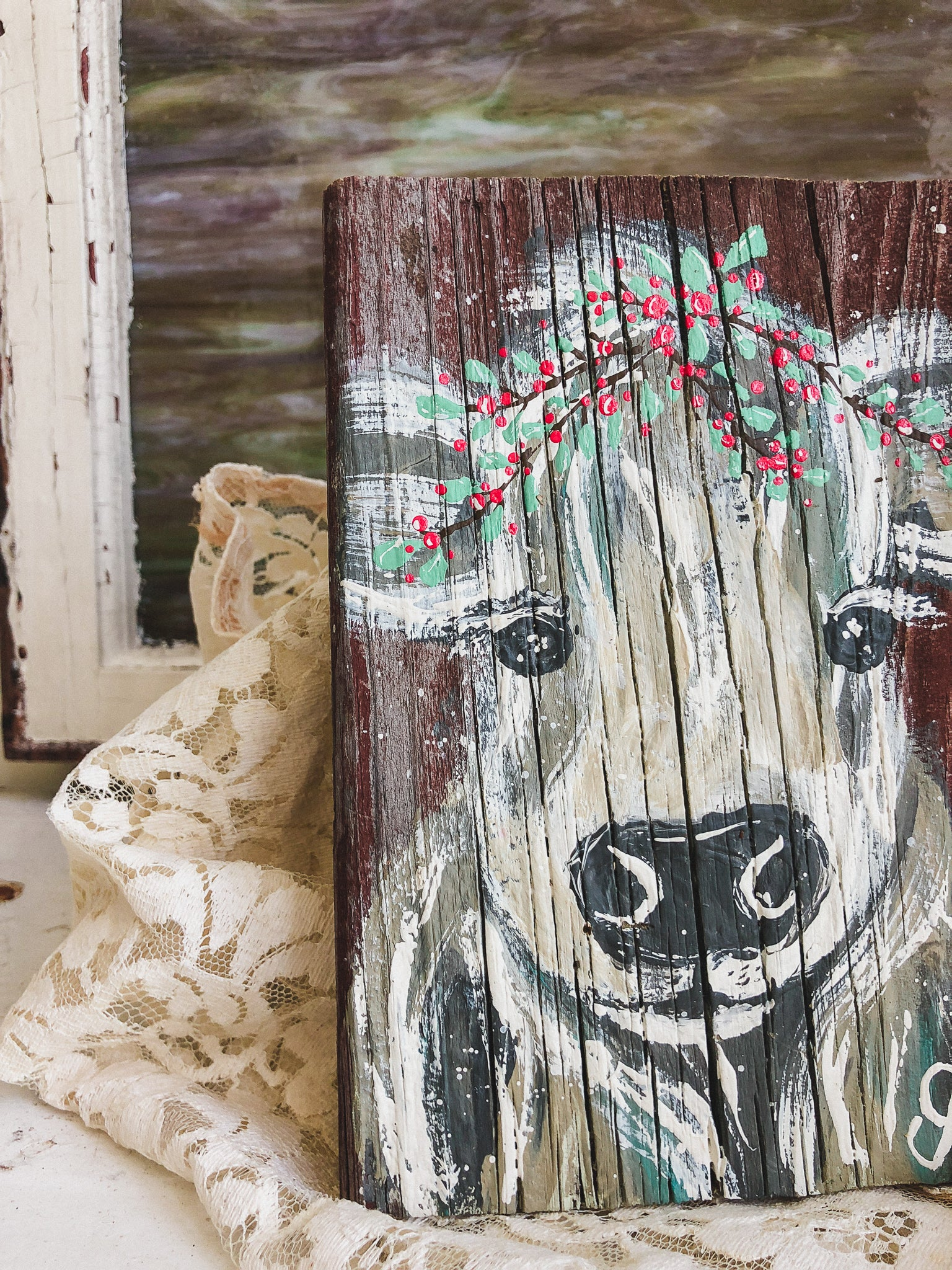Farm Animal Painting - Holiday Halo Cow