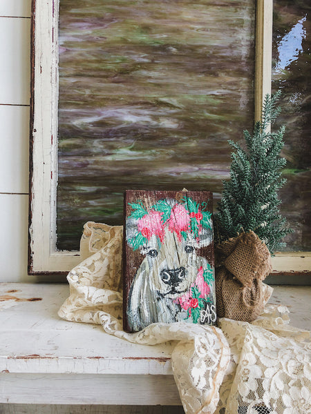 Farm Animal Painting - Pink Holiday Cow