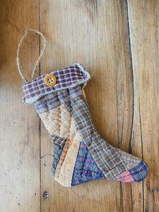 Vintage Mini Quilted Stocking