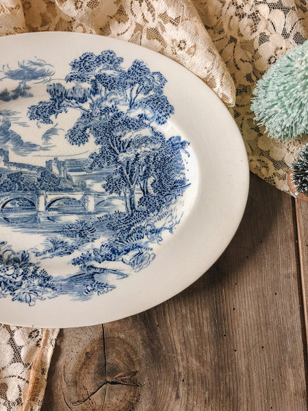 Vintage Countryside Scene Plate