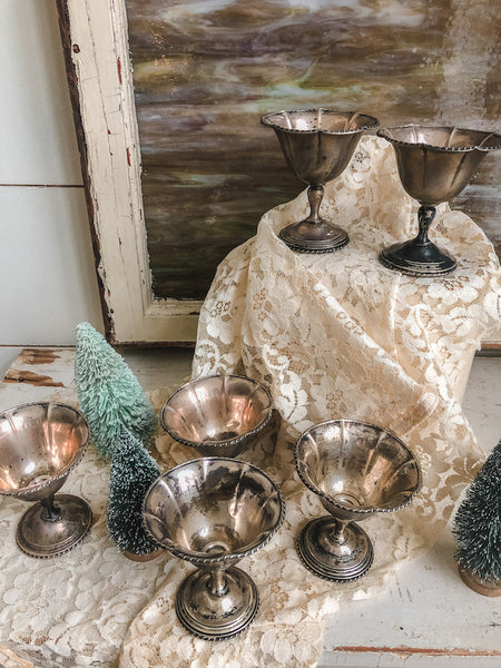 Vintage Set of 6 Tarnished Metal Dessert Bowls