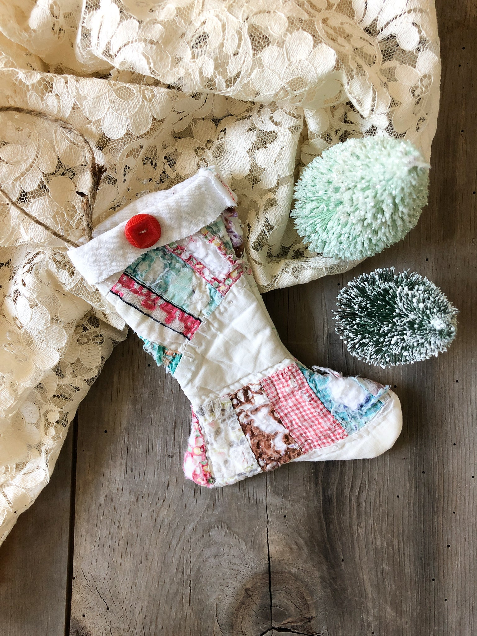 Vintage Quilted Mini Stocking