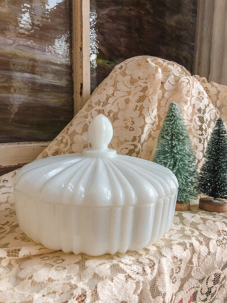 Vintage Mid-Century Milk Glass Candy Bowl