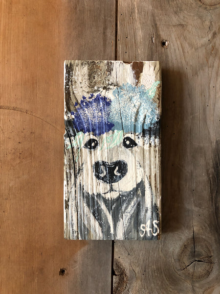 Farm Animal Painting - Blend of Blues Floral Cow