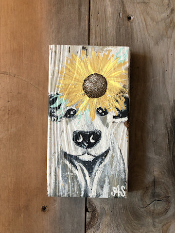 Farm Animal Painting - Sunflower Cow