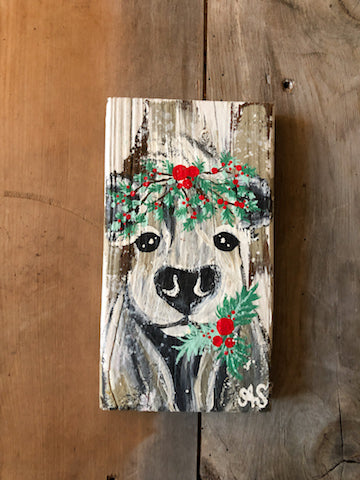 Farm Animal Painting - Holiday Holly Halo Cow