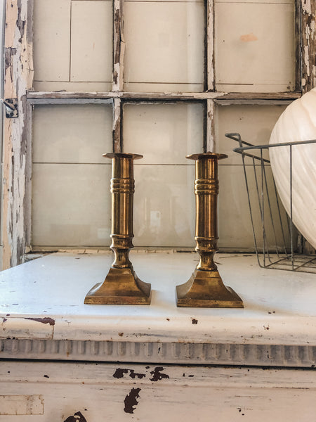 Vintage Brass Candle Holders - Set of 2