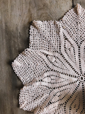 Vintage Pink Crocheted Doily