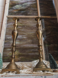 Vintage Tall Metal Candle Holders Set of 2