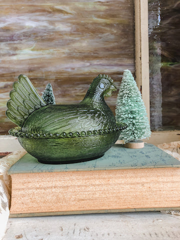 Vintage Green Chicken Glass Bowl