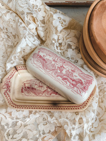 Vintage Transferware Butter Dish