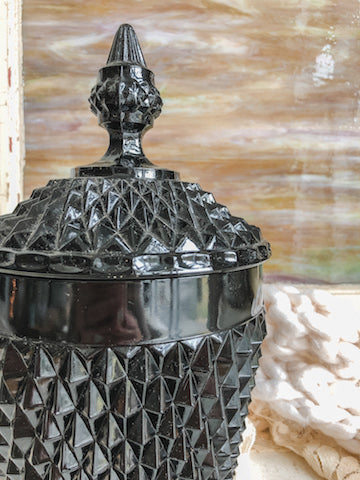 Vintage Black Milk Glass Ice Bucket