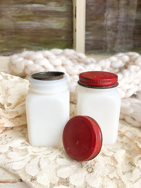 Vintage Milk Glass Salt & Pepper